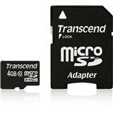 4 GB Transcend Standard microSDHC Class 10 Retail inkl. Adapter
