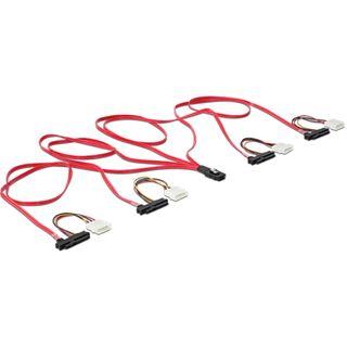 (€31,90*/1m) 1.00m Delock SAS 3Gb/s Verbindungskabel mini SAS 36 Pin auf 4xSFF-8482 Schwarz/Rot/Gelb