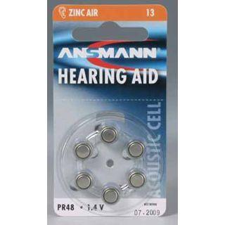 ANSMANN Hearing Aid PR48 Zink-Luft Knopfzellen Batterie 1.4 V 6er Pack