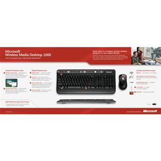 Microsoft Cordless Desktop 1000 Media Tastatur+Maus Schwarz Deutsch USB