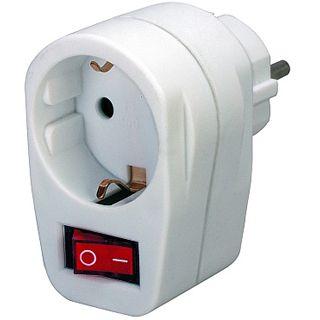 Brennenstuhl Steckdose mit Schalter Schutzkontakt Stecker auf Schutzkontakt Buchse Weiß