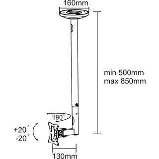 """NewStar LCD Deckenhalterung 10"""" (25,4cm) -30"""" (76,2cm) Silber"""