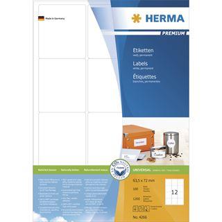 Herma 4266 Premium Universal-Etiketten 6.35x7.2 cm (100 Blatt (1200 Etiketten))