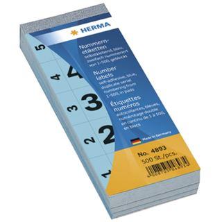 Herma 4893 selbstklebend blau Nummernblock-Etiketten 2.8x5.6 cm (500 Stück (1-500))