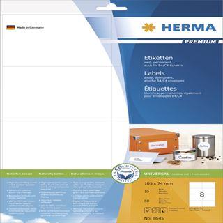 Herma 8645 Premium Universal-Etiketten 10.5x7.4 cm (10 Blatt (80 Etiketten))