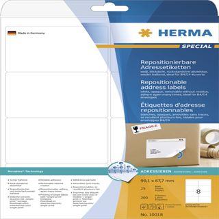 Herma 10018 Adressetiketten 9.91x6.67 cm (25 Blatt (200 Etiketten))