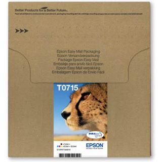 Epson T0715 Tintenpatrone schwarz und dreifarbig Standardkapazität schwarz: 7.4ml, Farbe: 3 x 5.5ml 4er-Pack online packaging